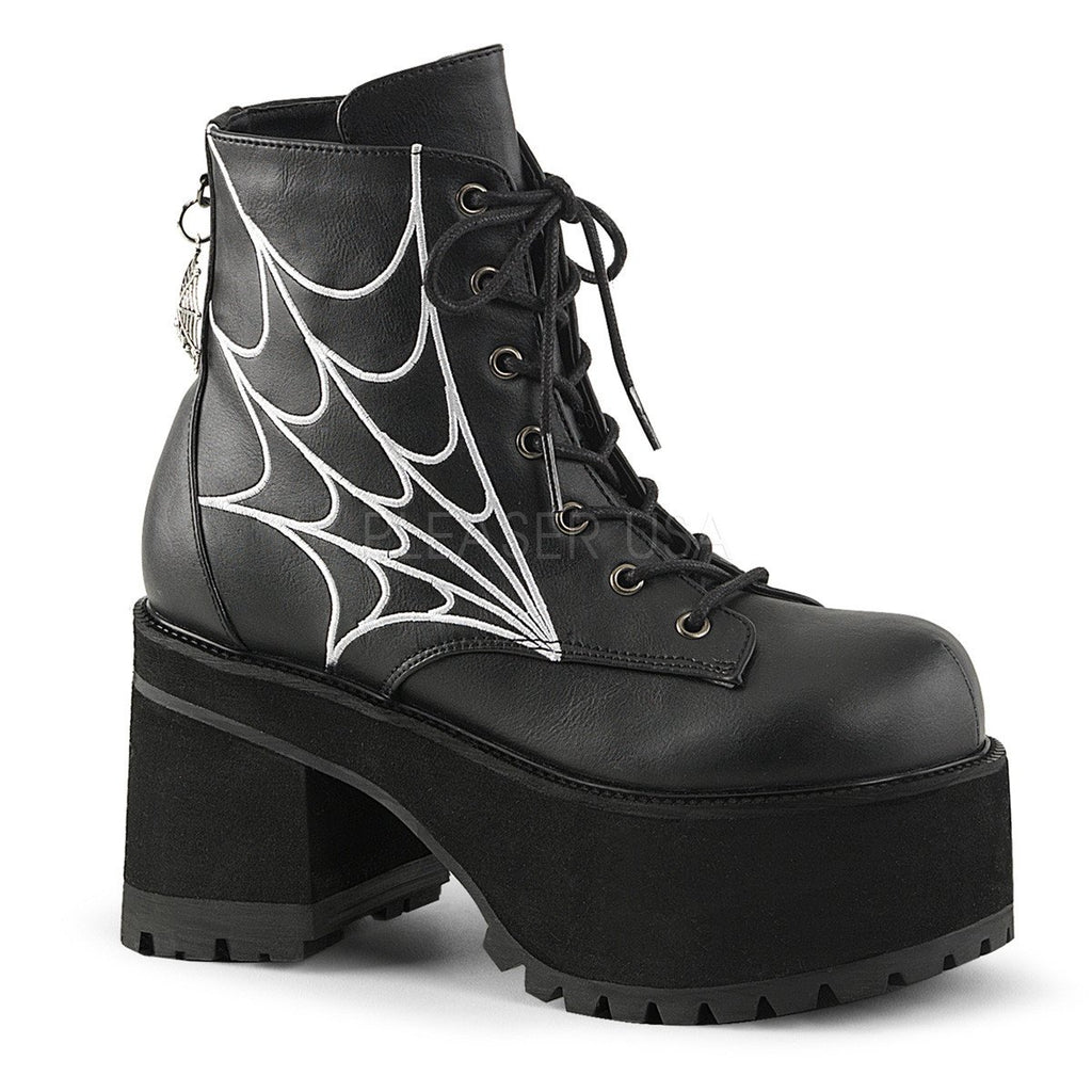 Demonia Ranger Spider Web Ankle Boots - The Atomic Boutique