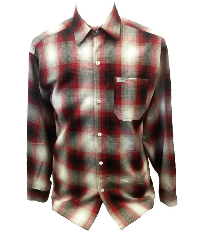Red Long Sleeve Button Down Flannel Shirt - The Atomic Boutique