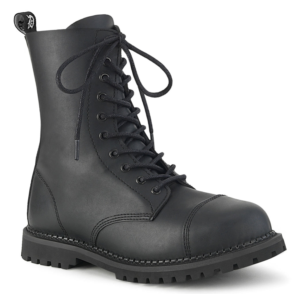 Unisex Vegan Leather Ten Eyelet Steel Toe Boots RIOT-10 - The Atomic Boutique