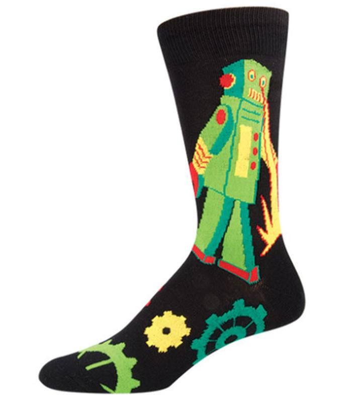 Socksmith Mens Robot Rampage Crew Length Socks - The Atomic Boutique