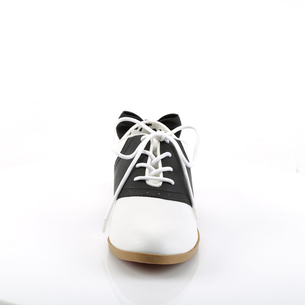 Black and White Bow Saddle Shoes - The Atomic Boutique