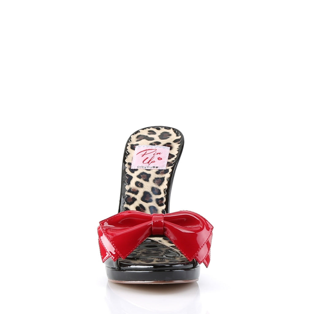 Patent Black Red Bow Slides SIREN-06 - The Atomic Boutique