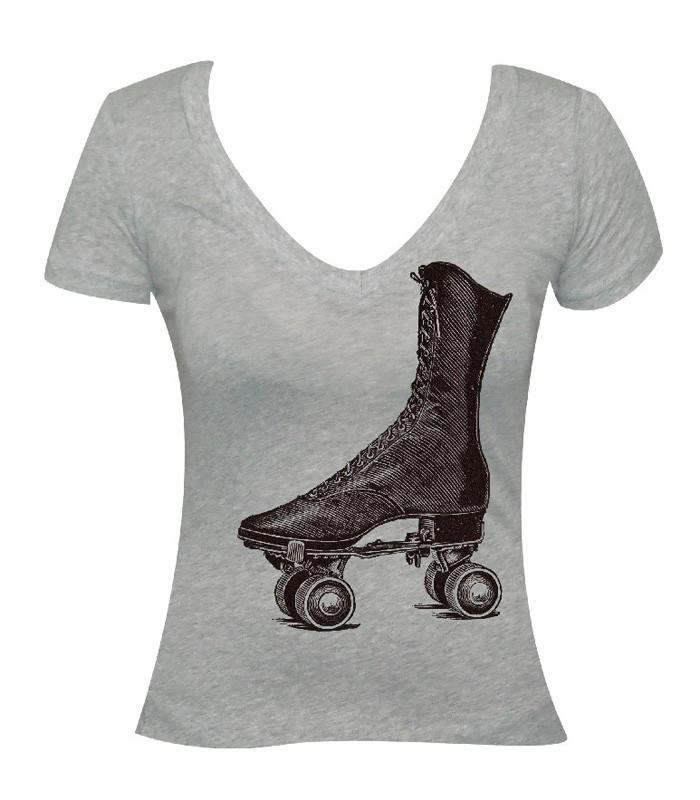 Retro Roller Skate Scoop Neck Tee - The Atomic Boutique