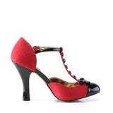 Smitten Red and Black T-Strap Bow Pumps SMITTEN-10 - The Atomic Boutique