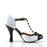 Smitten Black and White T-Strap Bow Pumps SMITTEN-10 - The Atomic Boutique