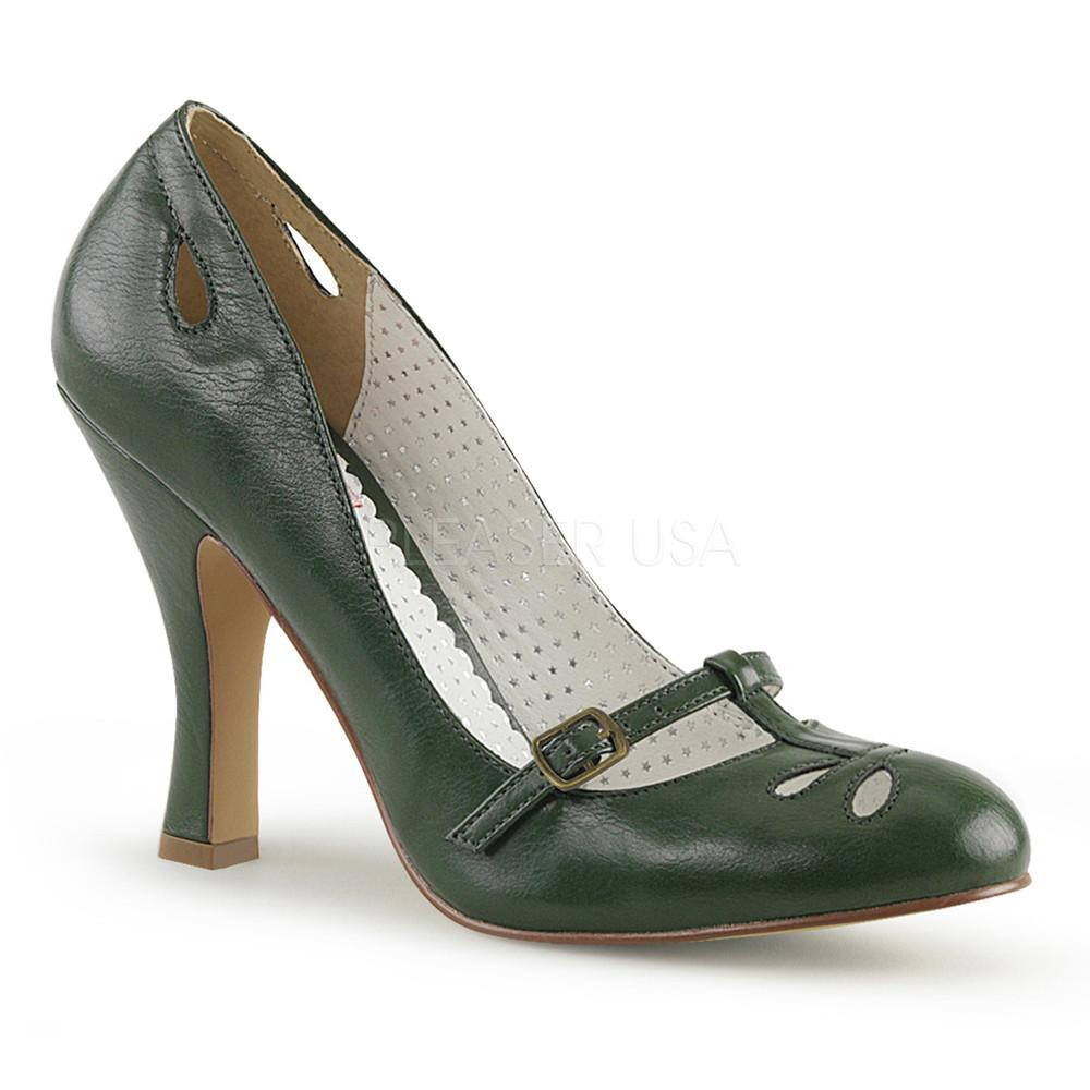 Pin Up Couture Forest Green Smitten Pumps - The Atomic Boutique
