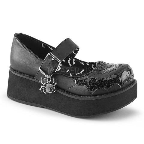 Demonia Gothika Black and White Lace-Up Heels