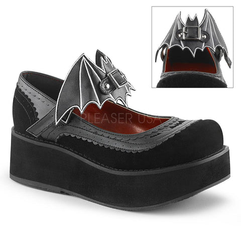 Demonia Black Vegan Pentagram Ankle Strap Flats