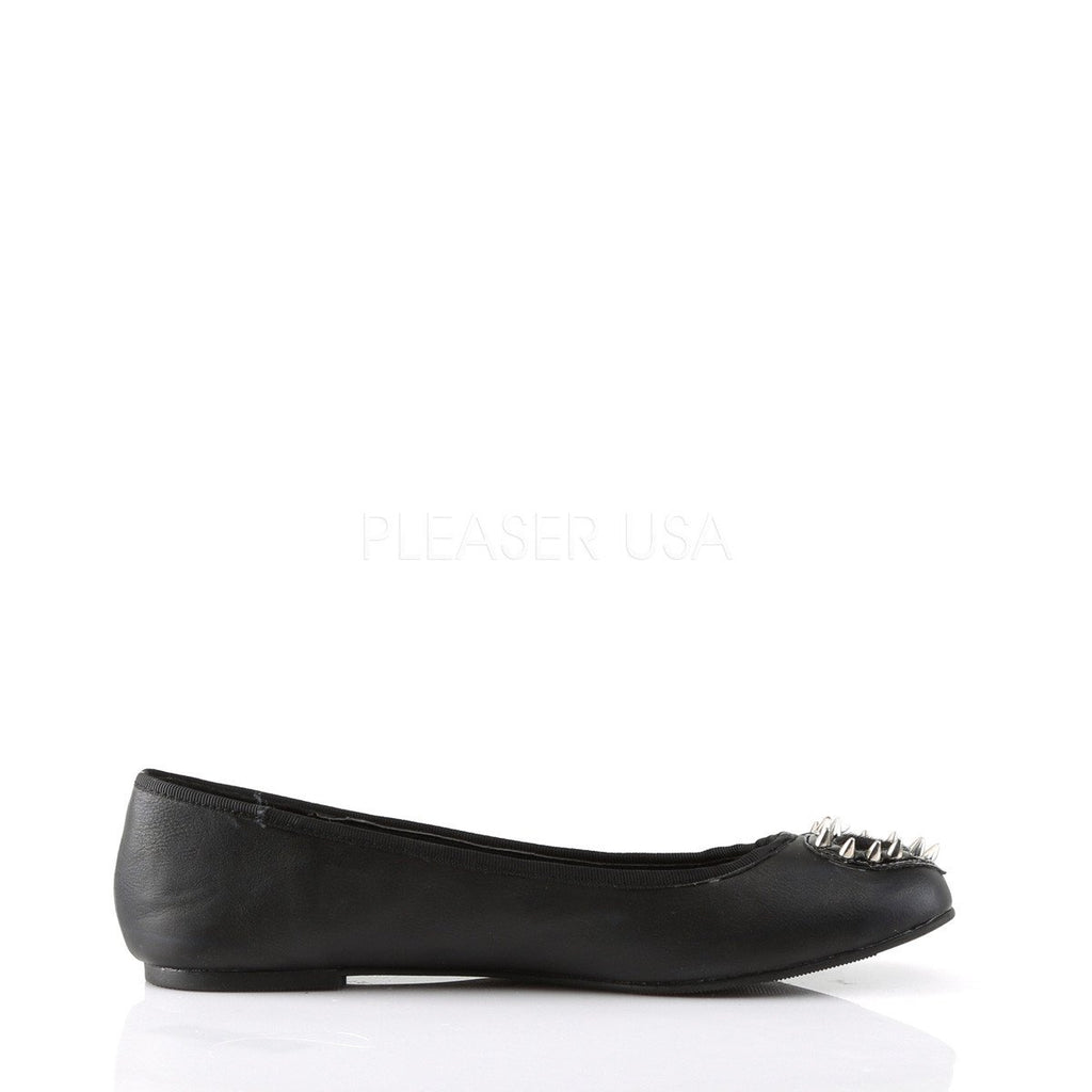 Demonia Black Vegan Heart Stud Flats - The Atomic Boutique