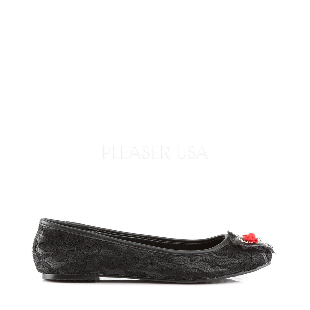 Demonia Black Heart Lace Overlay Flats - The Atomic Boutique