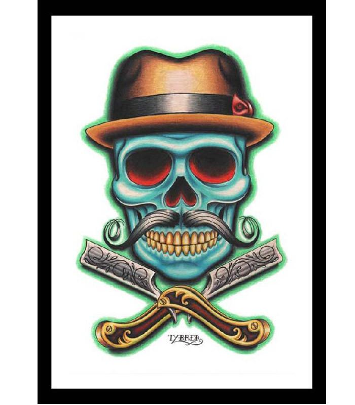 Black Market Barber Skull Art Print - The Atomic Boutique