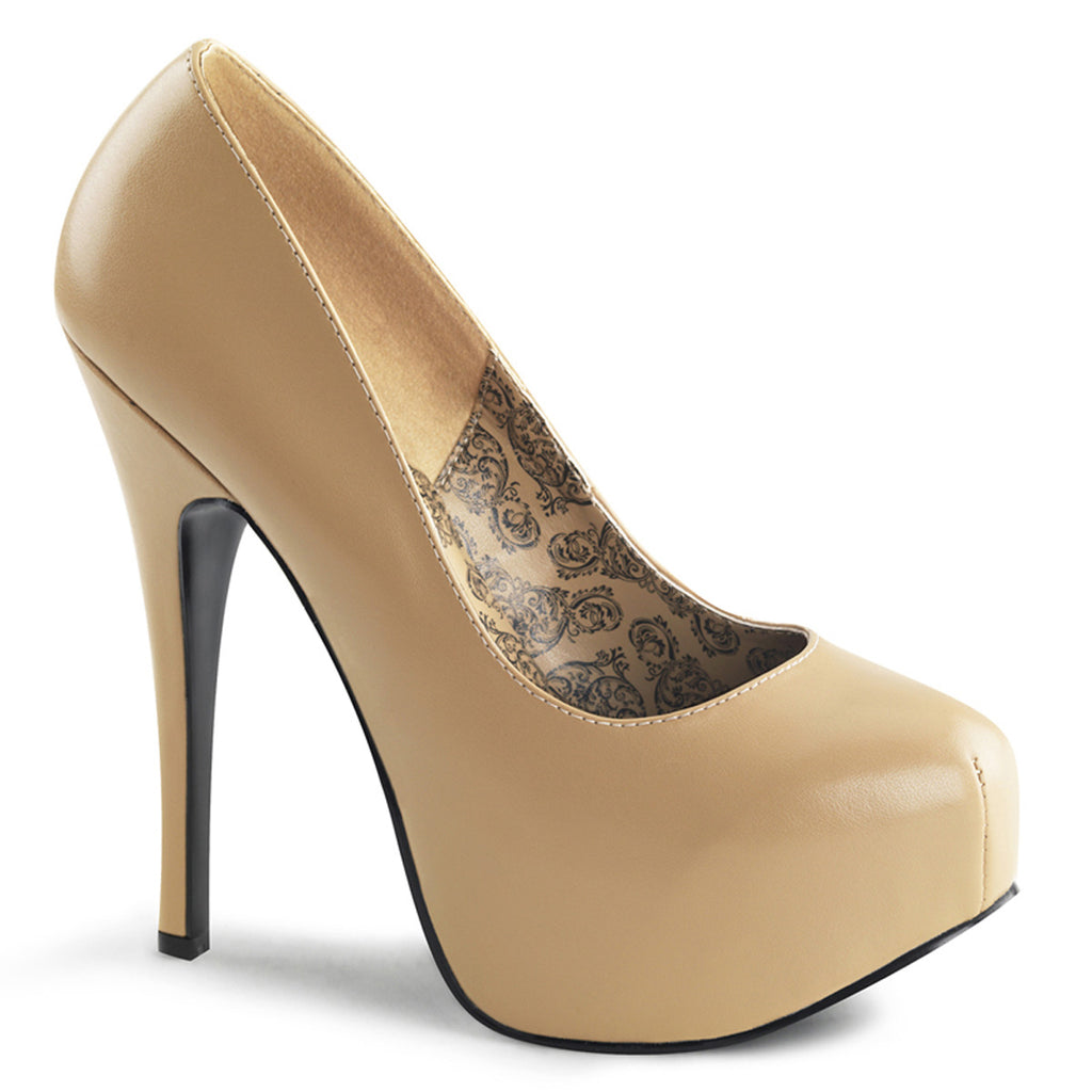 Bordello Tan Matte Platform Stilettos - The Atomic Boutique