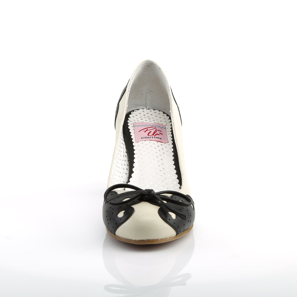 Cuban Heel Black and White Pumps WIGGLE-17 - The Atomic Boutique