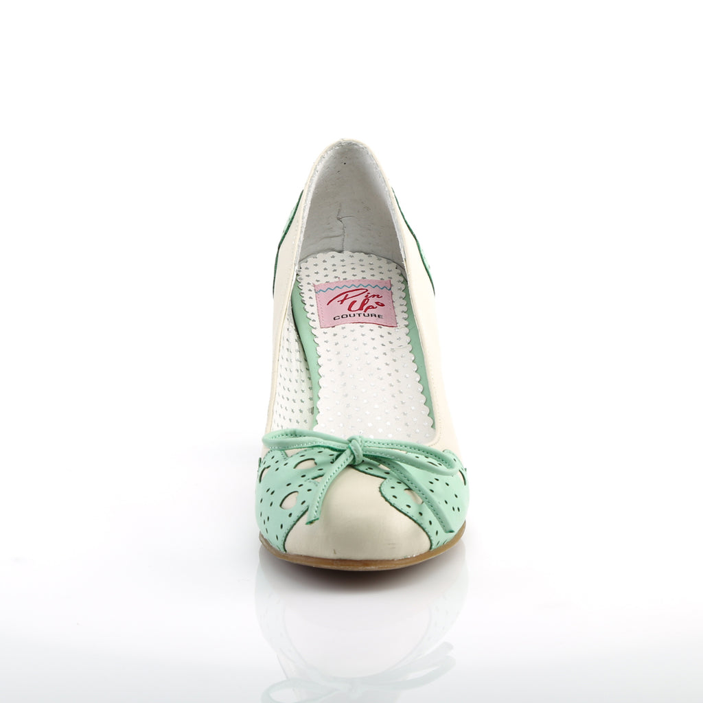 Cream And Mint Green Wiggle Cuban Heels WIGGLE-17 - The Atomic Boutique
