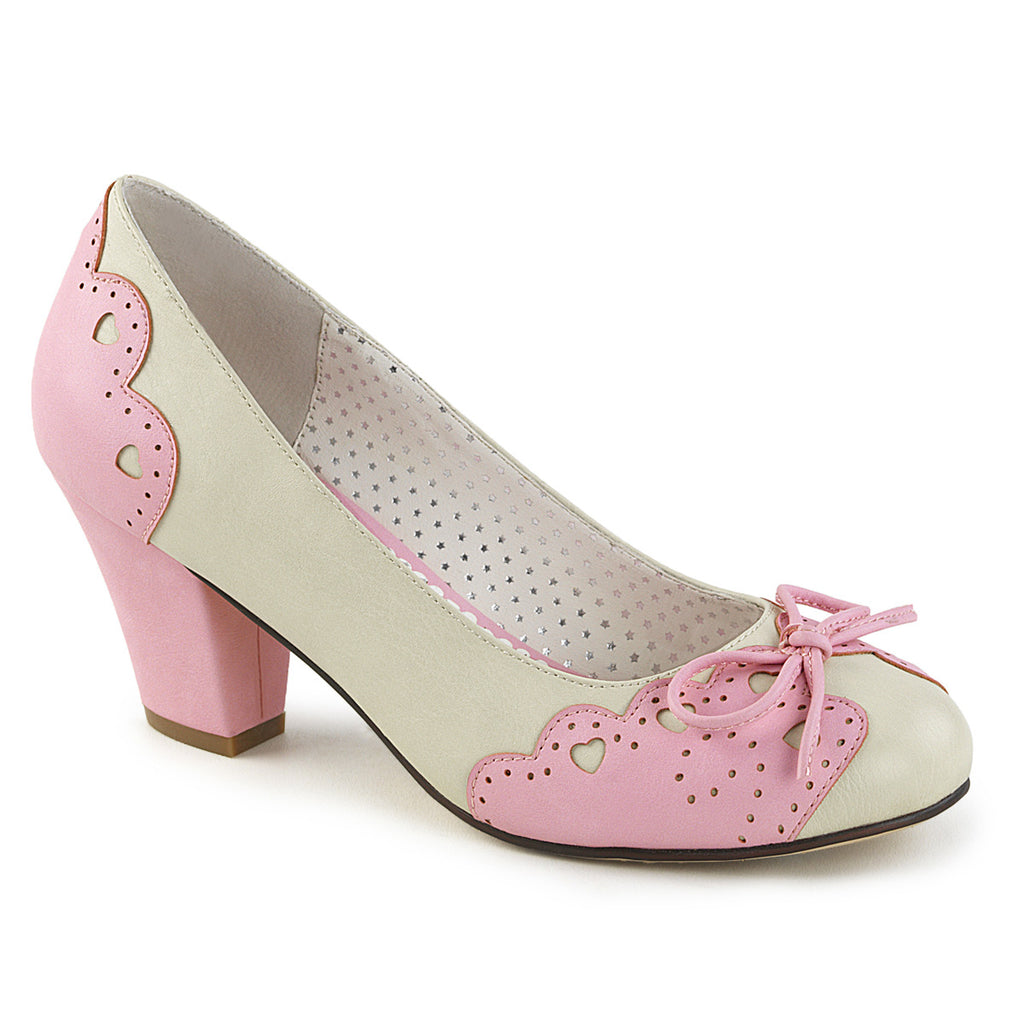 Cream and Pink Cuban Wiggle Heels WIGGLE-17 - The Atomic Boutique
