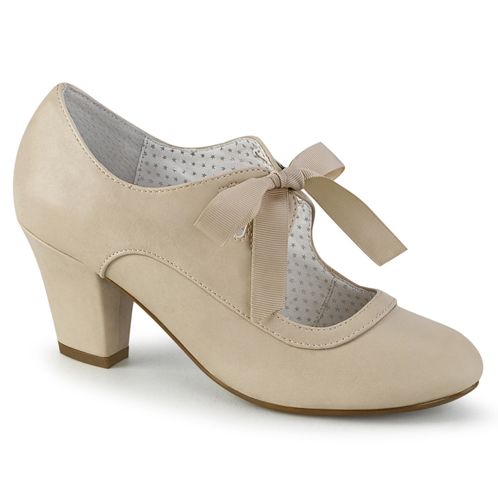 Cream Tie Front Wiggle Cuban Pumps WIGGLE-32 - The Atomic Boutique