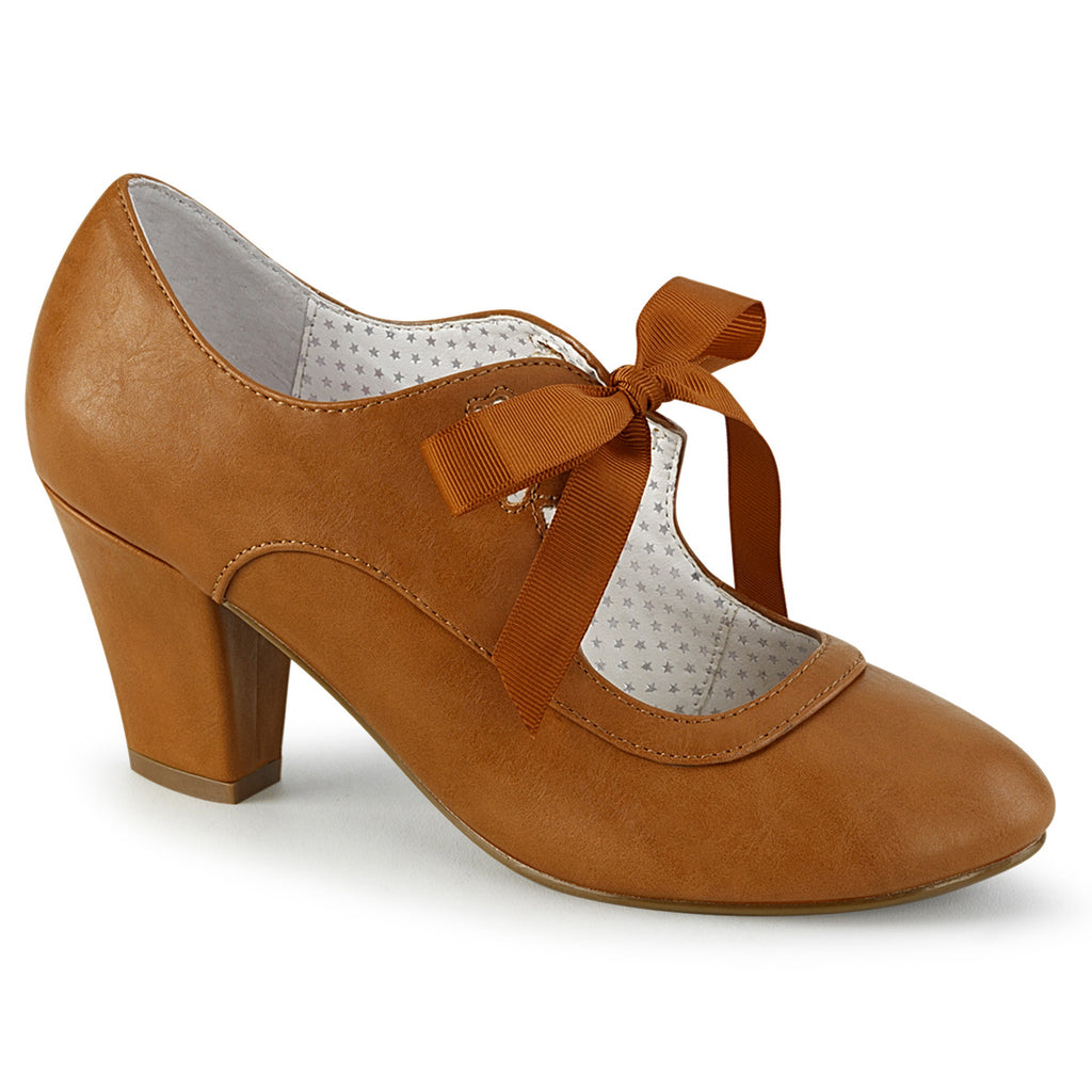 Tan Wiggle Tie Front Ribbon Pumps WIGGLE-32 - The Atomic Boutique