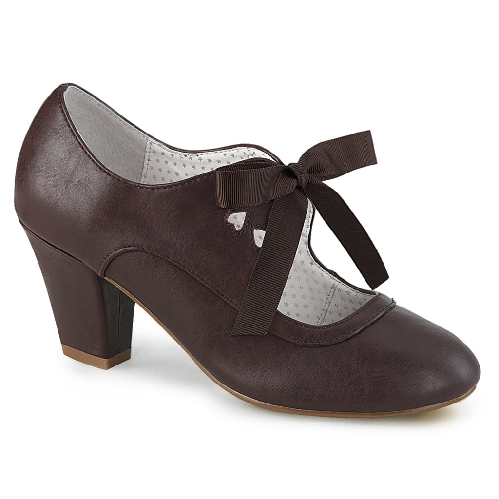 Dark Brown Wiggle Tie Front Cuban Heels WIGLE-32 - The Atomic Boutique