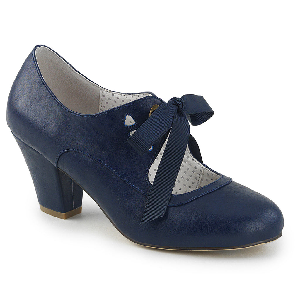 Vintage Blue Wiggle Tie Front Cuban Pumps WIGGLE-32 - The Atomic Boutique