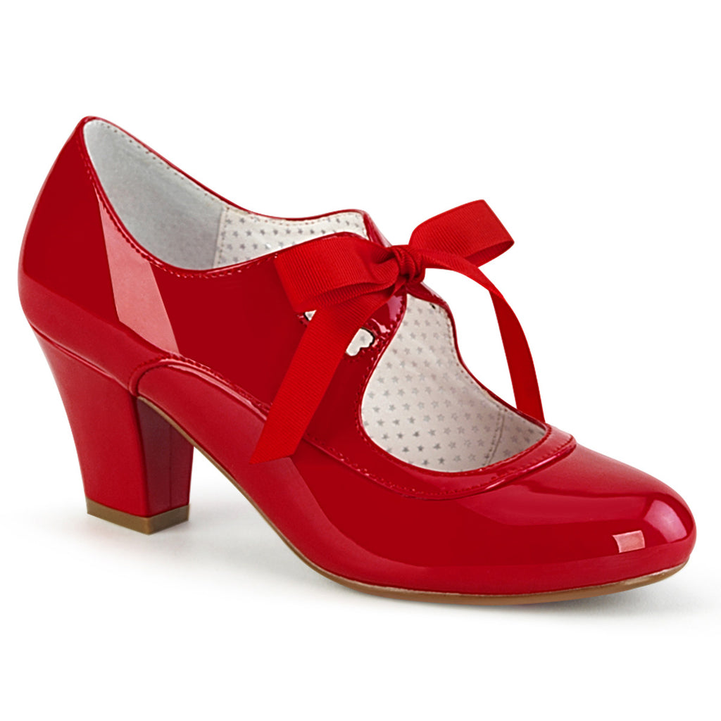 The Wiggle Shiny Red Tie Front Cuban Pumps WIGGLE-32 - The Atomic Boutique