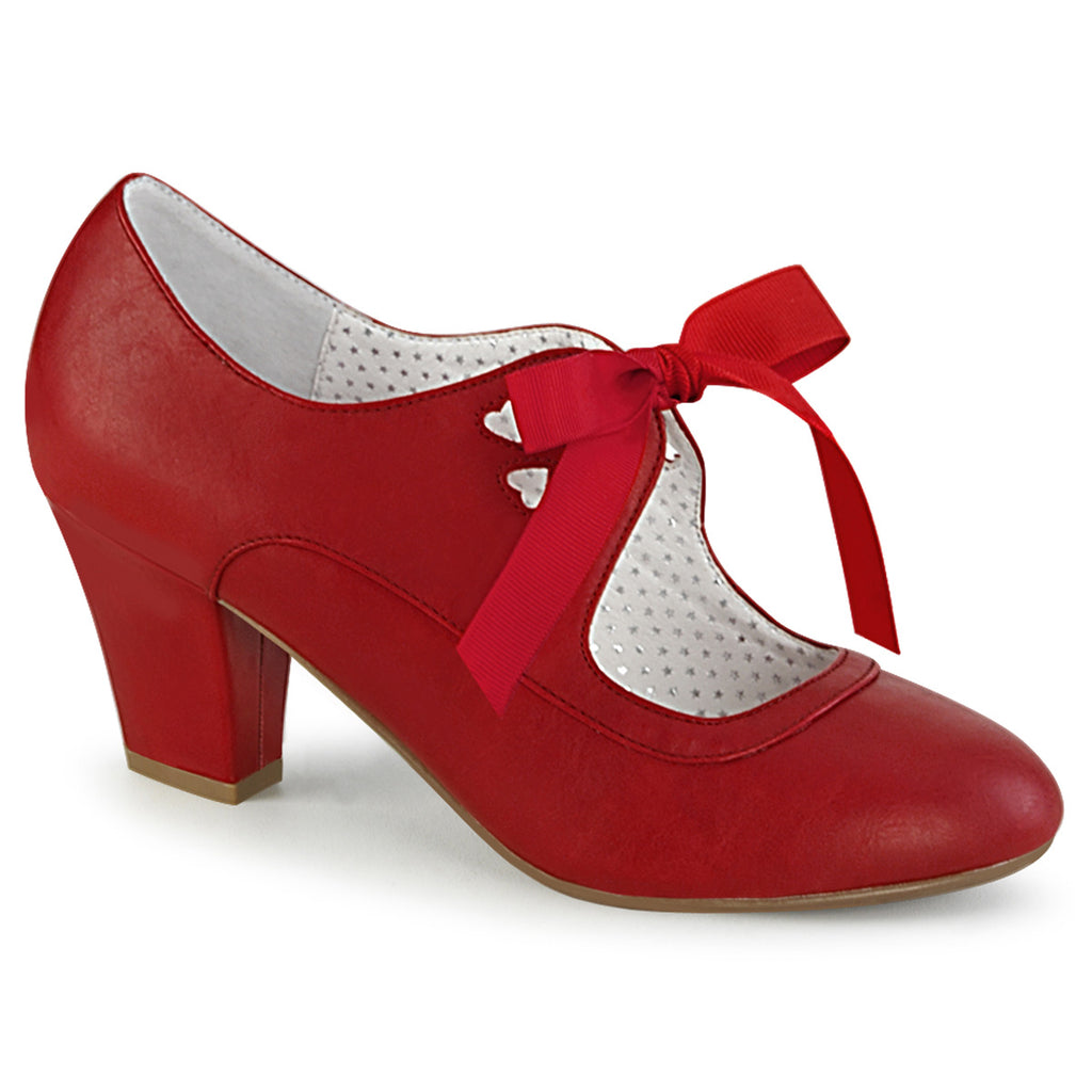 Vintage Red Wiggle Front Tie Cuban Pumps WIGGLE-32 - The Atomic Boutique