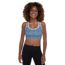 Product name: Recursia® Rainbow Rose Series I Padded Sports Bra. Keywords: Athlesisure Wear, Clothing, Padded Sports Bra, Rainbow Rose, Women's Clothing