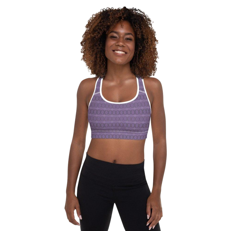 Product name: Recursia® Illusion's Game Series Padded Sports Bra. Keywords: Athlesisure Wear, Clothing, Illusion's Game, Padded Sports Bra, Women's Clothing
