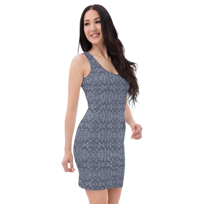 Product name: Recursia® Rainbow Rose Series II Pencil Dress. Keywords: Clothing, Pencil Dress, Rainbow Rose, Women's Clothing
