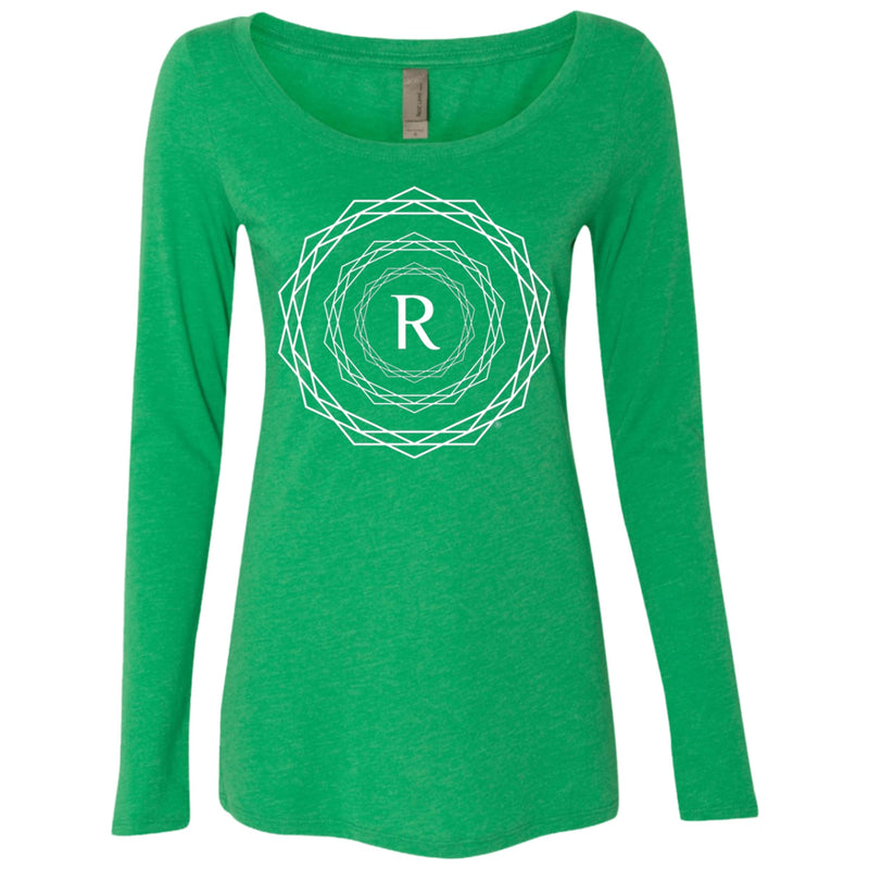 Product name: Recursia® Brand Series I Women's Triblend Long Sleeve Scoop. Keywords: Athlesisure Wear, Brand, Clothing, Women's Clothing, Women's Tops, Women's Triblend Long Sleeve Scoop