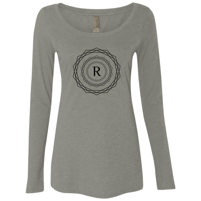 Product name: Recursia® Brand Series Women's Triblend Long Sleeve Scoop. Keywords: Athlesisure Wear, Brand, Clothing, Women's Clothing, Women's Tops, Women's Triblend Long Sleeve Scoop