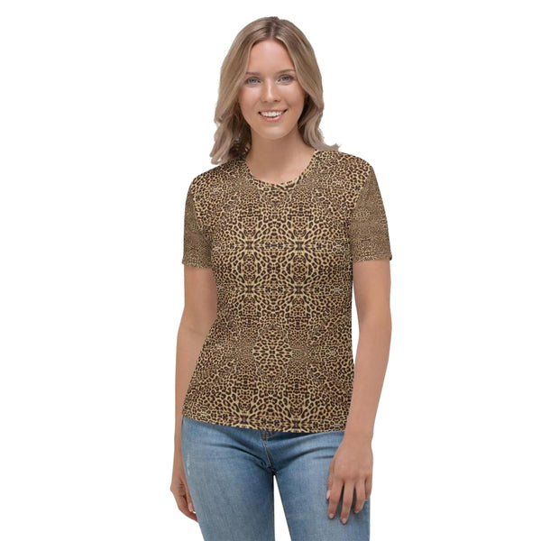 Product name: Recursia® Contemplative Jaguar Series Women's Crew Neck T-Shirt. Keywords: Clothing, Contemplative Jaguar, Women's Clothing, Women's Crew Neck T-Shirt, Women's Tops