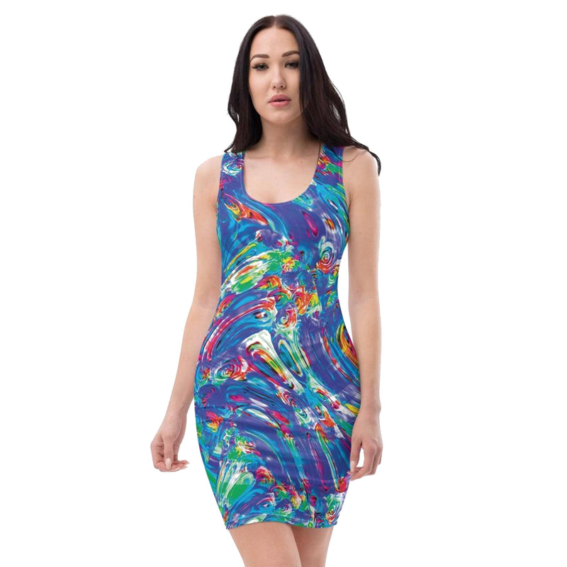 Product name: Recursia® Rainbow Rose Series Pencil Dress. Keywords: Clothing, Pencil Dress, Rainbow Rose, Women's Clothing