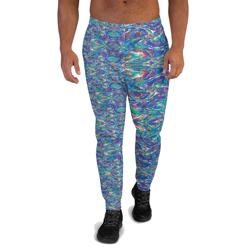 Product name: Recursia® Rainbow Rose Series V Men's Joggers. Keywords: Athlesisure Wear, Clothing, Men's Athlesisure, Men's Bottoms, Men's Clothing, Men's Joggers, Rainbow Rose