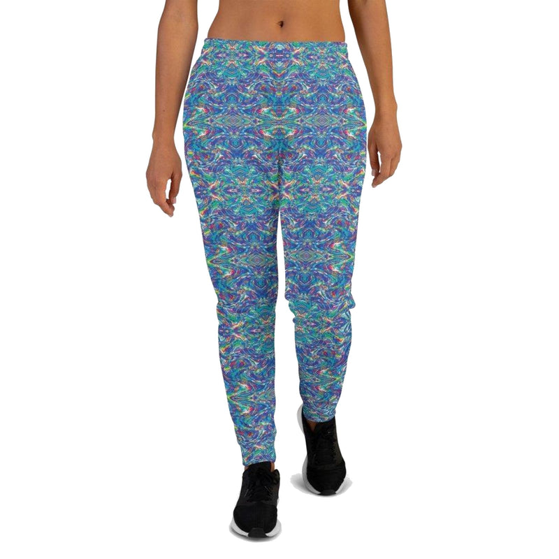 Product name: Recursia® Rainbow Rose Series VI Women's Joggers. Keywords: Athlesisure Wear, Clothing, Rainbow Rose, Women's Bottoms, Women's Joggers