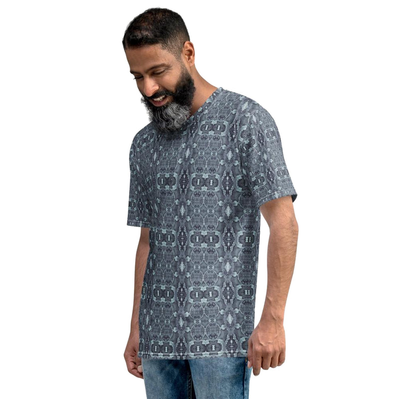 Product name: Recursia® Serpentine Dream Series Men's Crew Neck T-Shirt. Keywords: Clothing, Men's Clothing, Men's Crew Neck T-Shirt, Men's Tops, Serpentine Dream