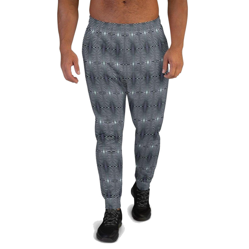 Product name: Recursia® Zebrallusions Series Men's Joggers. Keywords: Athlesisure Wear, Clothing, Men's Athlesisure, Men's Bottoms, Men's Clothing, Men's Joggers, Zebrallusions