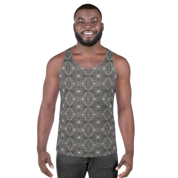 Product name: Recursia® Zebrallusions Series Men's Tank Top. Keywords: Athlesisure Wear, Clothing, Men's Athlesisure, Men's Clothing, Men's Tank Top, Men's Tops, Zebrallusions