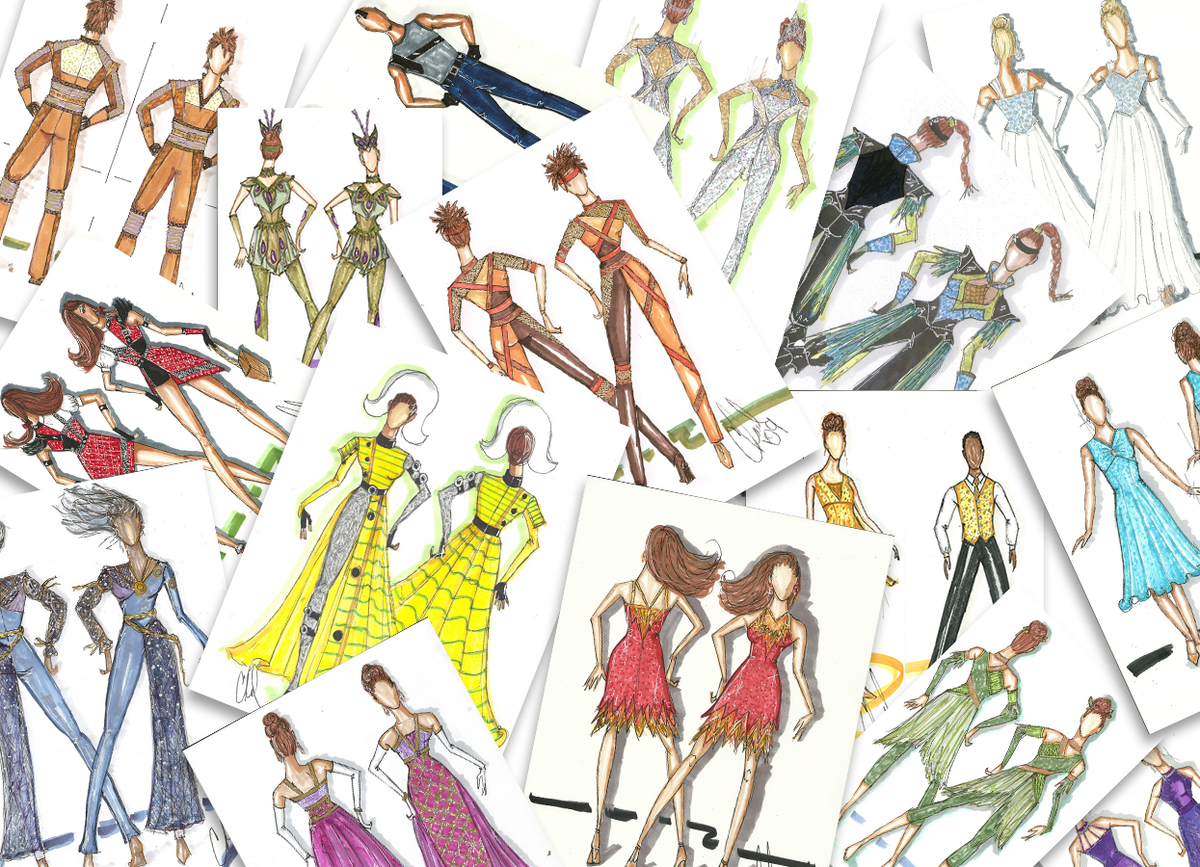 Collage of colorful and bright hand drawn fashion illustration showcasing show choir, colorguard, and indoor percussion costumes made by Dance Sophisticates