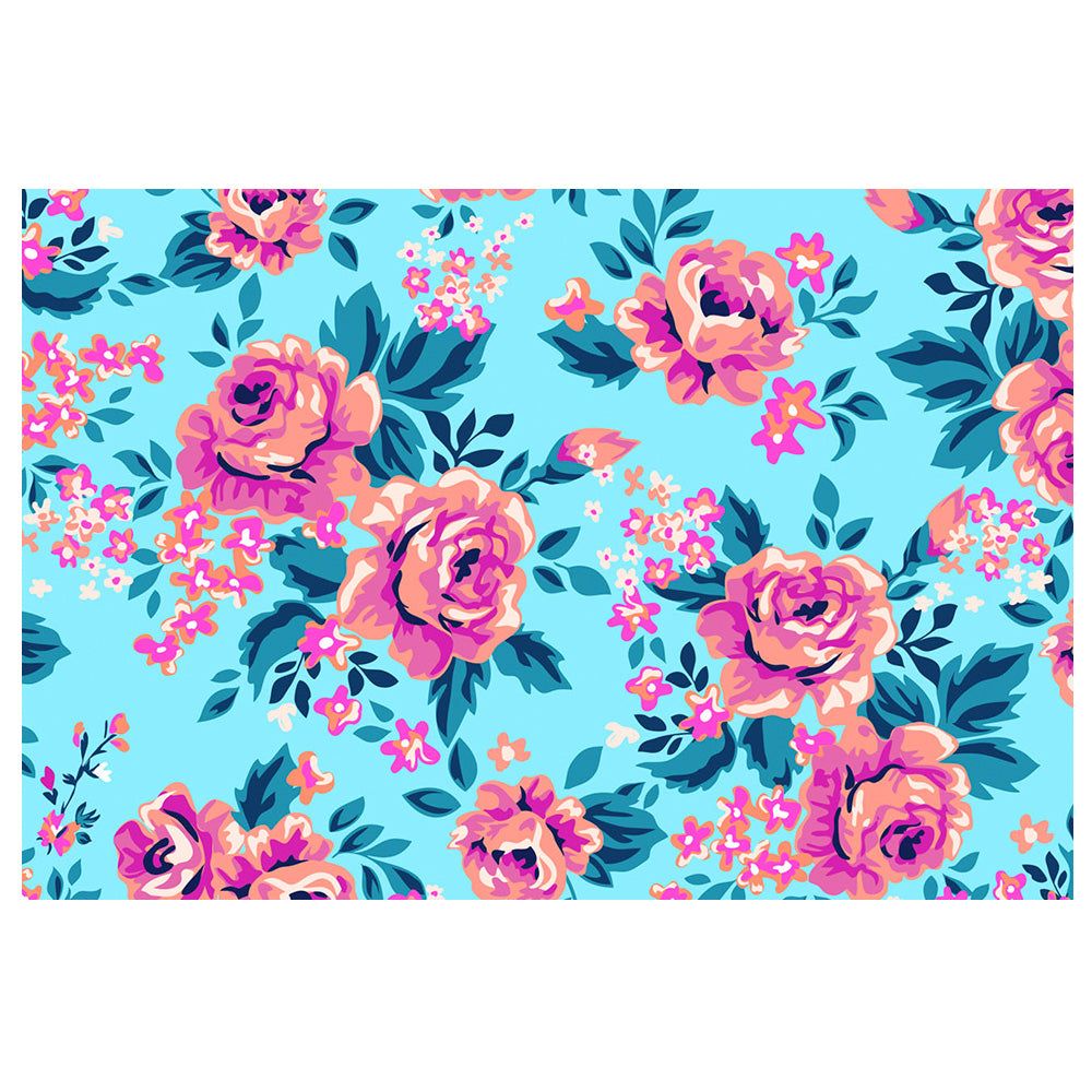 Roses Flowers on Blue Background Pattern