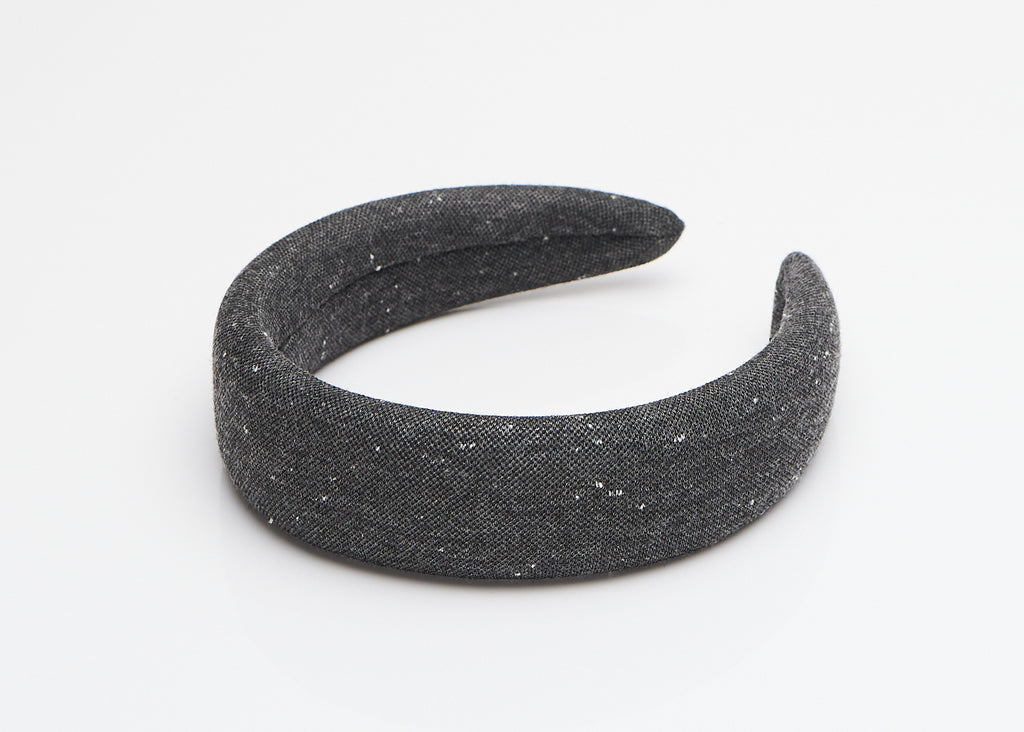 Gray Slub Linen Wide Padded Headband