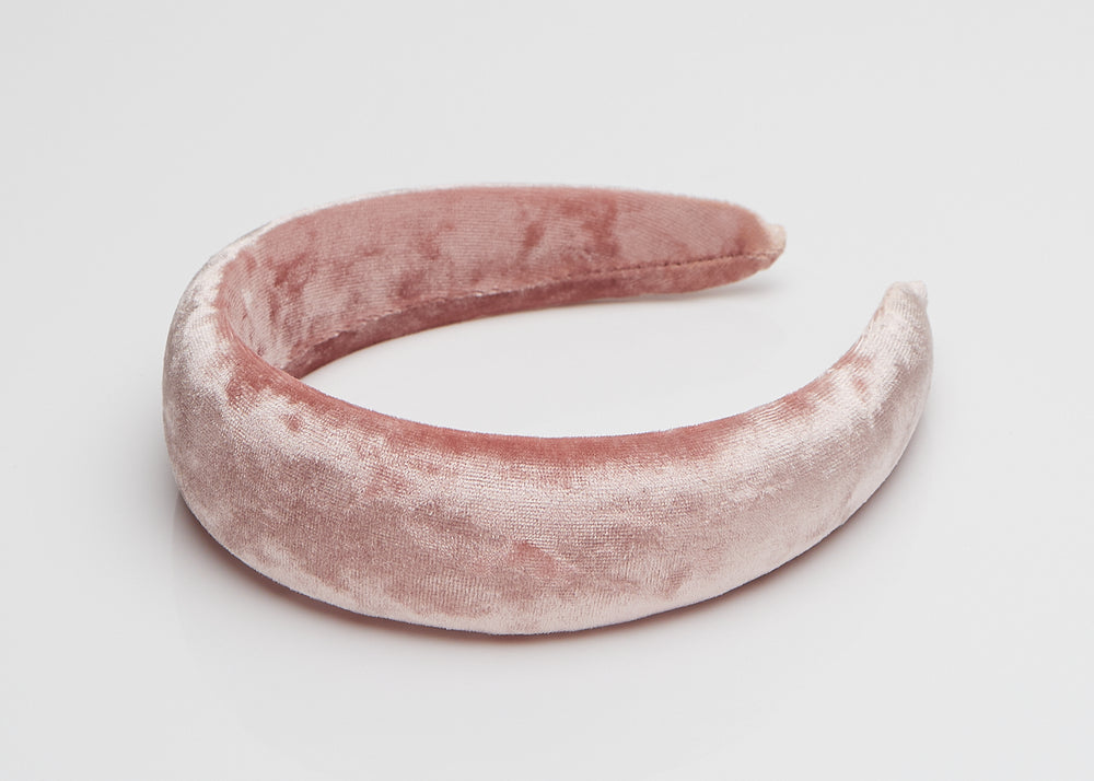 Pink Velvet Wide Padded Headband