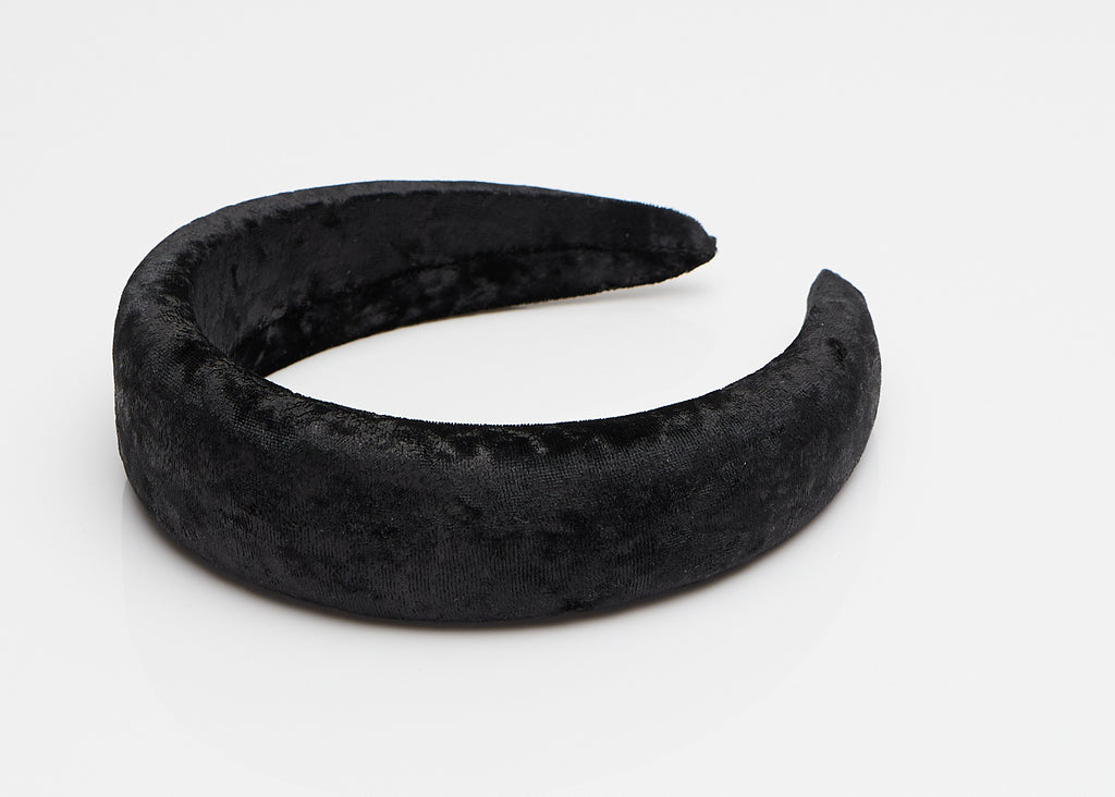 Black Velvet Wide Padded Headband
