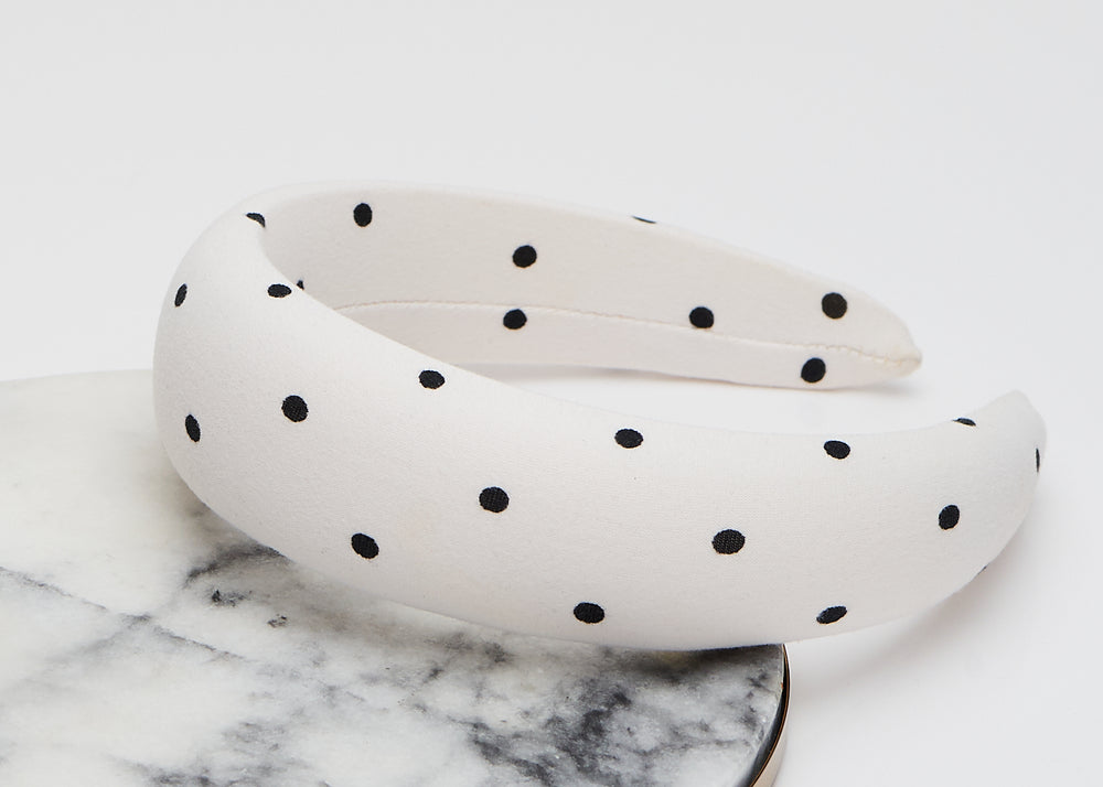 White Polka-dot Wide Padded Heaband