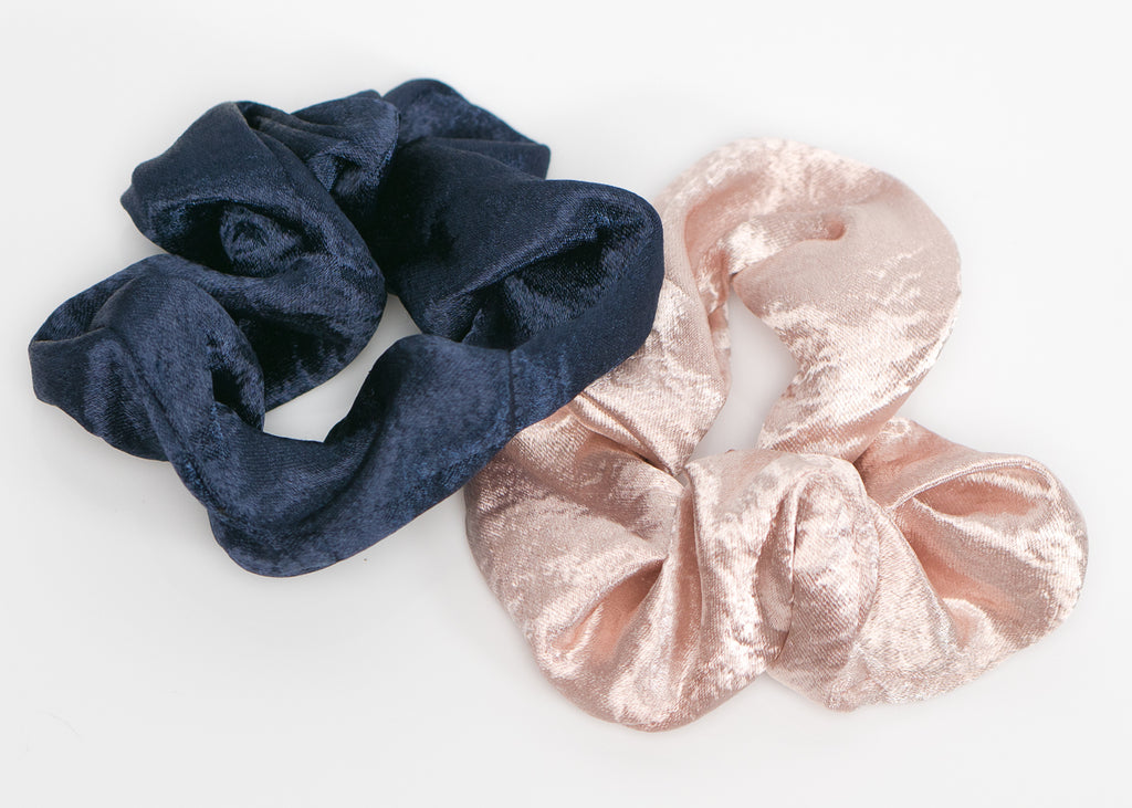 Navy Blue and Rose Silk Scrunchy Set