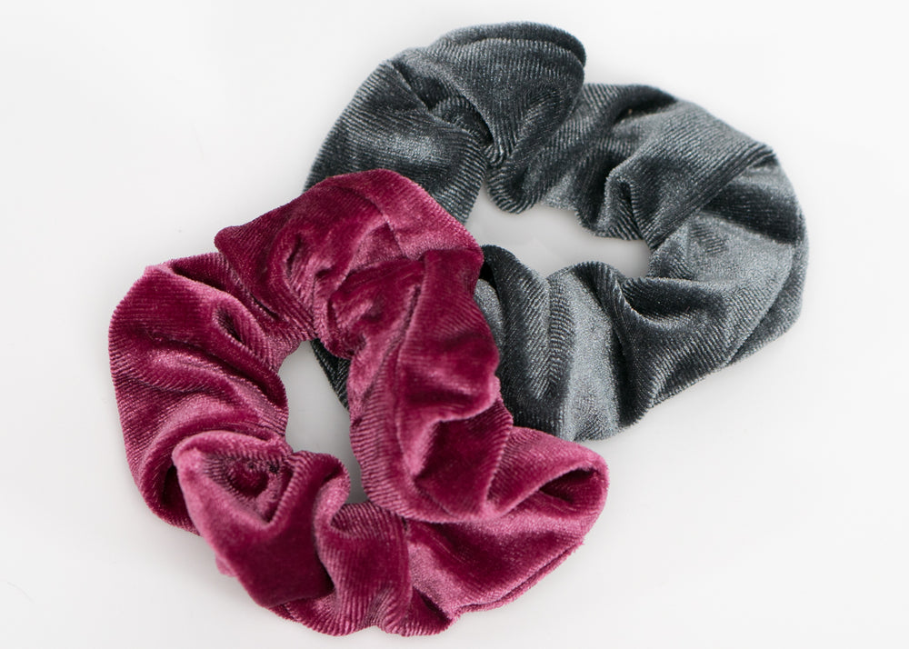 Fuchsia and Gray Velvet Scrunchy Set