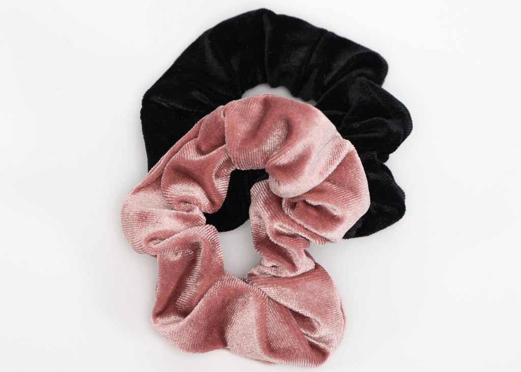 Pink and Black Velvet Scrunchy Set