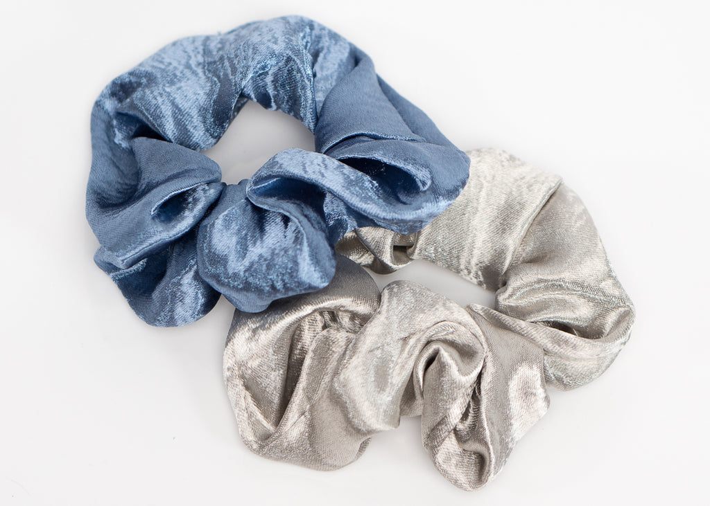 Sky Blue and Silver Silk Scrunchy Set