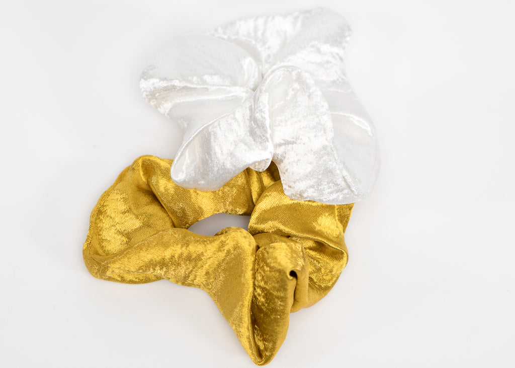 Yellow and White Silk Scrunchy Set
