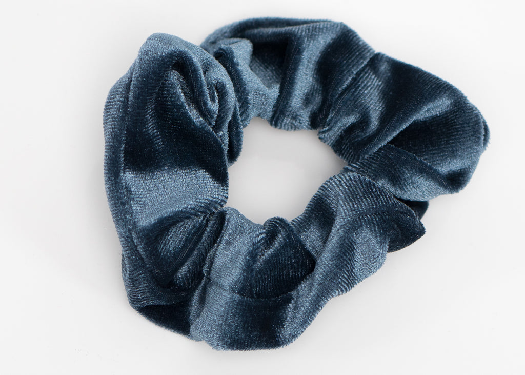 Olive Green and Blue Velvet Scrunchy Set