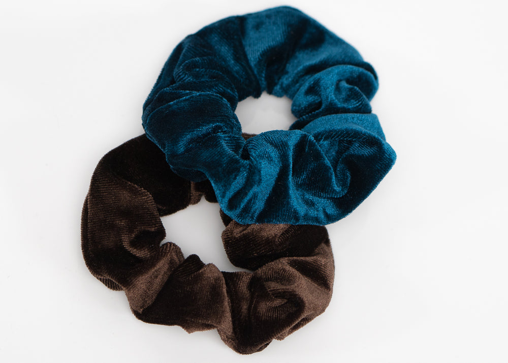 Brown and Blue Velvet Scrunchy Set